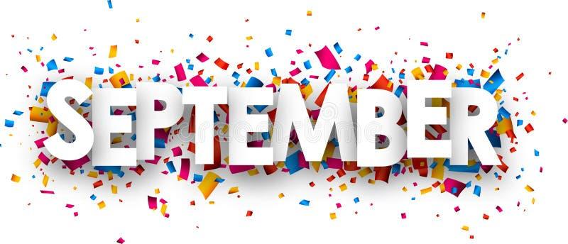 September sign. September sign with colour confetti. Vector paper illustration stock illustration