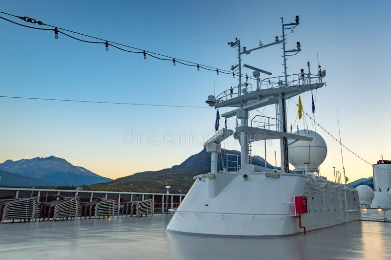 September 15, 2018 - Skagway, AK: Cruise ship navigation radar and positioning structure, at sunrise. September 15, 2018 - Skagway, AK: Navigation, radar and stock image