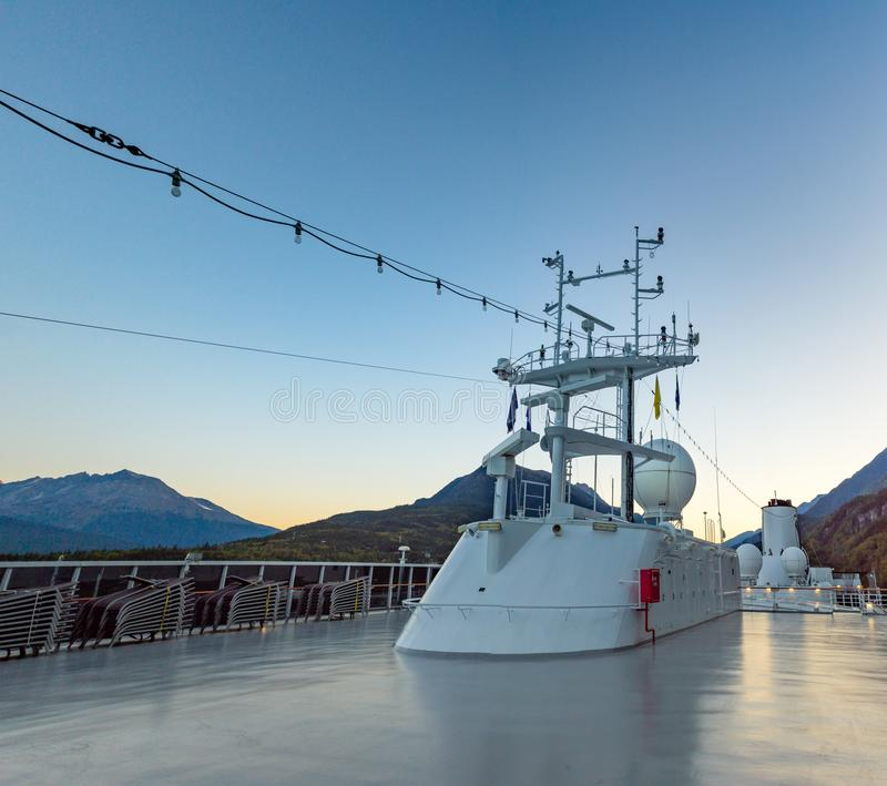 September 15, 2018 - Skagway, AK: Cruise ship navigation radar and positioning structure, at sunrise. September 15, 2018 - Skagway, AK: Navigation, radar and royalty free stock image