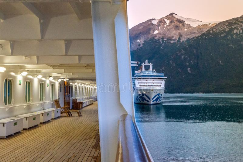 September 15, 2018 - Skagway, AK: Early morning cruise ships docking in Taiya Inlet. royalty free stock photos
