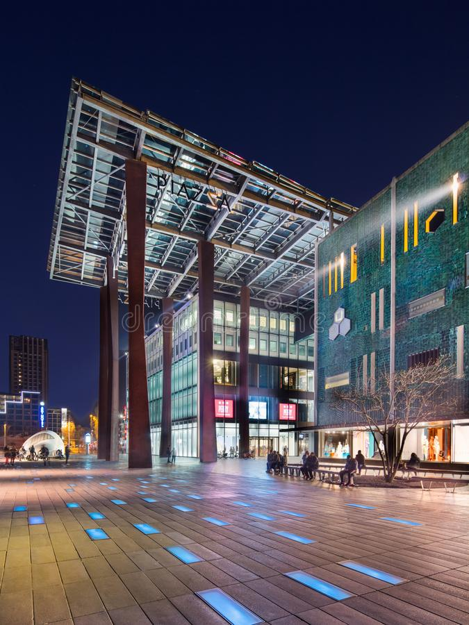 September Square with large canopy at the entrance of Piazza shopping mall, Eindhoven, Netherlands stock photo