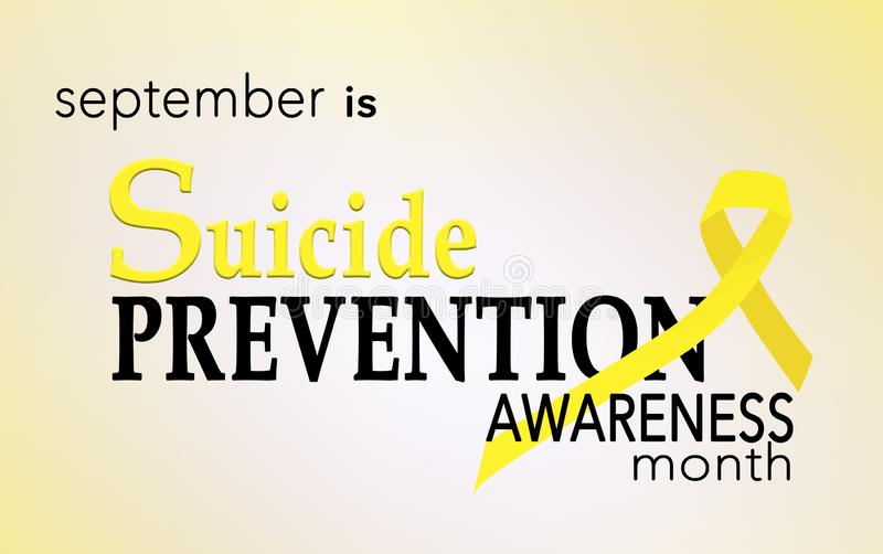 September is suicide prevention awareness month. Background with yellow awreness ribbon stock illustration