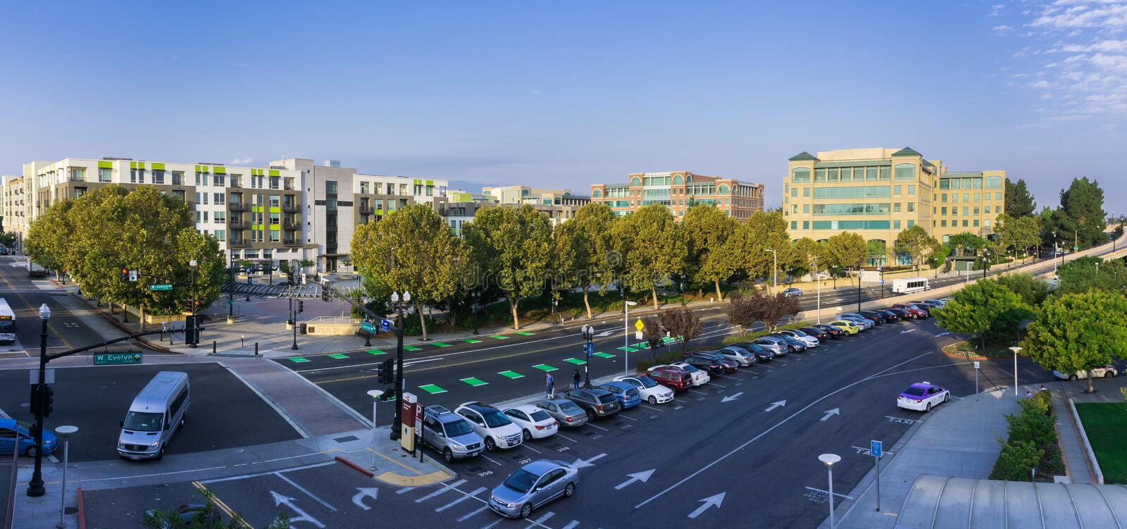 September 5, 2017 Sunnyvale/CA/USA - Panoramic aerial view of downtown Sunnyvale in the morning; south San Francisco bay area stock images