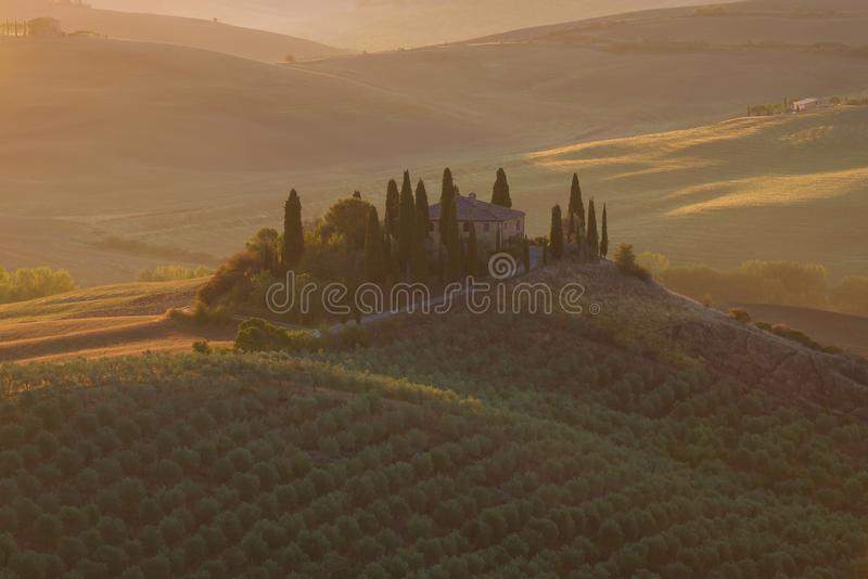 September sunrise at the villa Podere Belvedere, Italy. September sunrise at the villa Podere Belvedere. Italy stock images