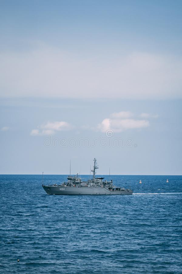 September 28th, 2017, Kalyves, Greece - a police ship patrols royalty free stock photos