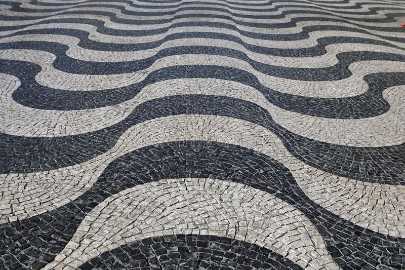 Lisbon, Portugal:  Wavy paving stones pattern in Lisbon /Portugal. September 15th 2017, Lisbon, Portugal:  Wavy paving stones pattern in Lisbon /Portugal, Rossio royalty free stock images