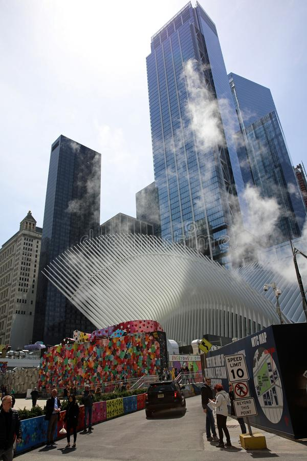 September 11th memorial with Skyscraper in lower Manhattan. New York City. USA royalty free stock photos