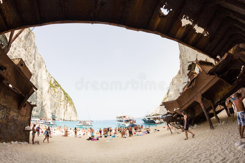 September, 7th, 2015, Zakynthos, Greece. Navaggio beach view. This is one of the most beautiful beaches in Greece. The water is extremely clear and the color stock images