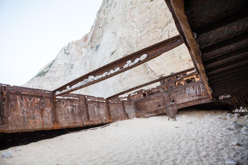 September, 7th, 2015, Zakynthos, Greece. Navaggio beach view. Shipwreck details. September, 7th, 2015, Zakynthos, Greece. Navaggio beach view with Shipwreck royalty free stock images