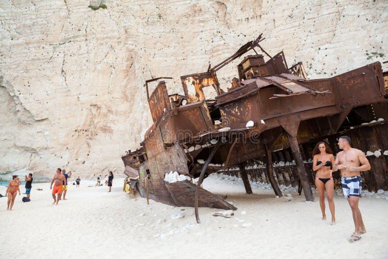 September, 7th, 2015, Zakynthos, Greece. Navaggio beach view. Shipwreck details. September, 7th, 2015, Zakynthos, Greece. Navaggio beach view with Shipwreck royalty free stock image