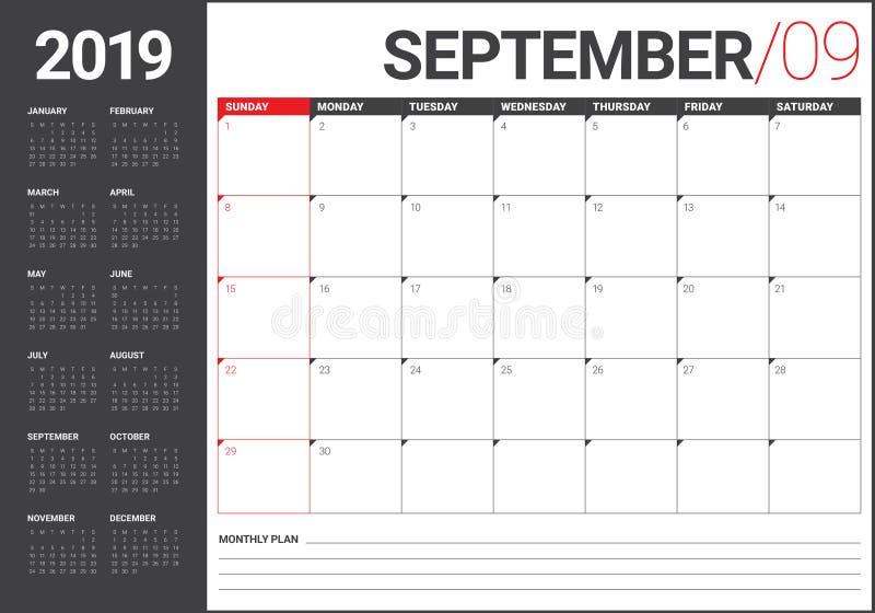 September 2019 Tischkalender-Vektorillustration stock abbildung