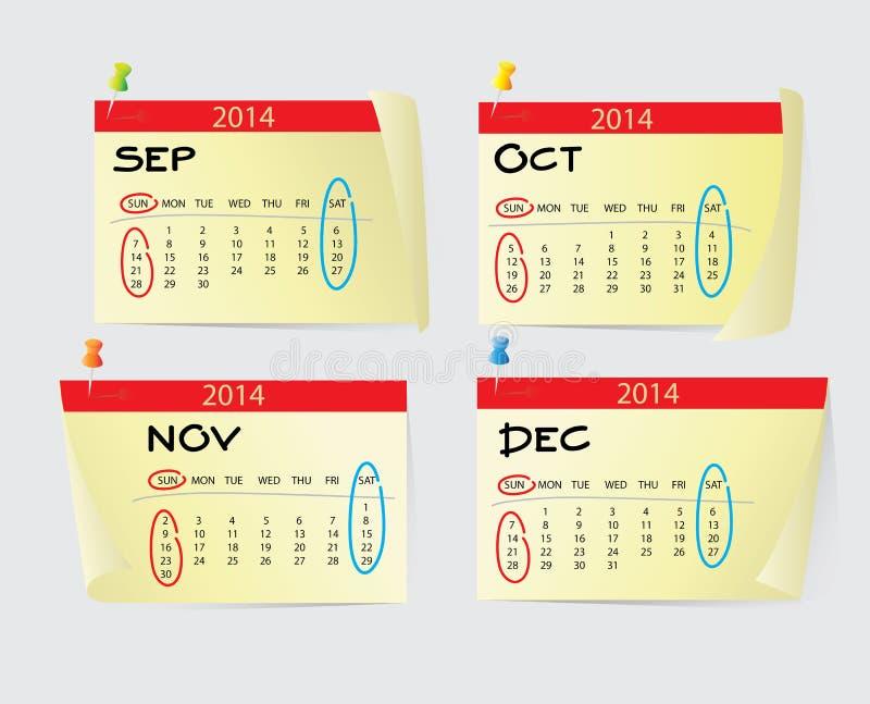 September To December Calendar 2014 Stock Illustration