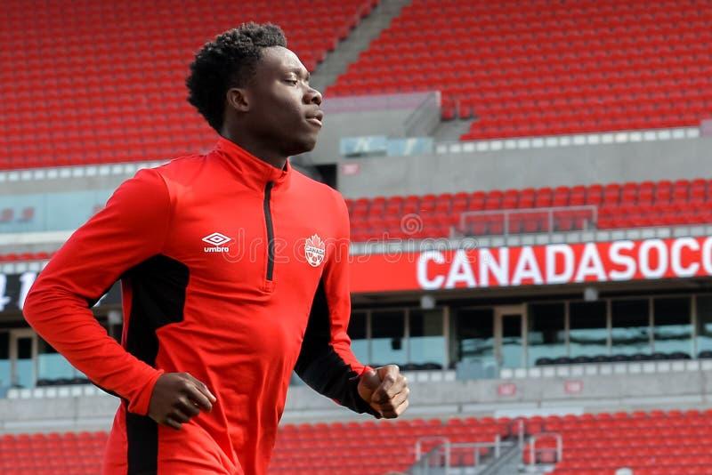 Canada soccer men`s national team training session. September 1, 2017. Toronto, Canada - Alphonso Davies Men's National Team player during open training stock photography