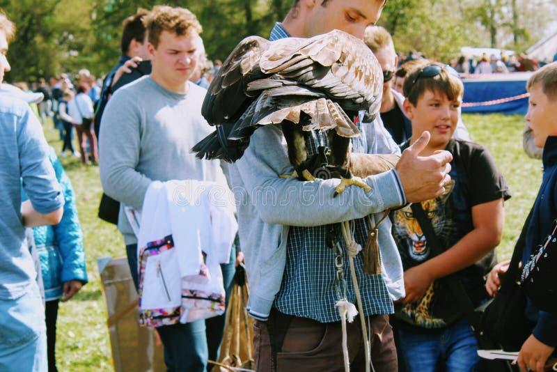 September, 16 2017, Tula, Russia - Historical Festival `Kulikovo Field`: eagle sitting on falconry glove. stock photo