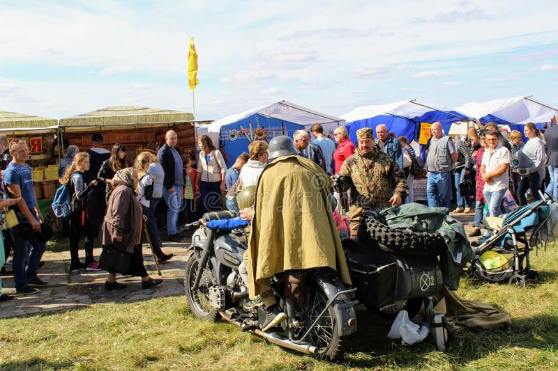 September, 16 2017, Tula, Russia - The International Military and Historical Festival `Kulikovo Field`: viewers and participants stock photography