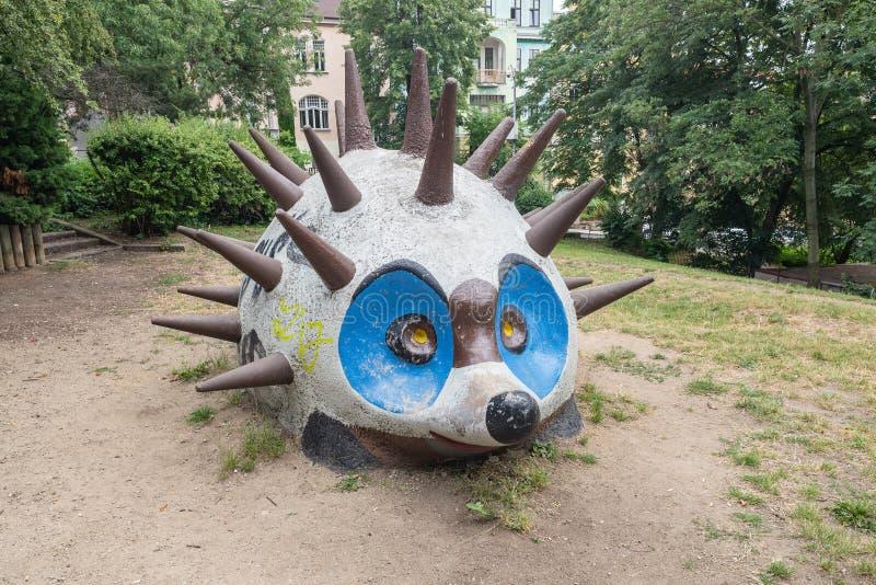 September 10, 2019 - Usti nad Labem, Czechia: Ježek the Hedgehog public art stock images