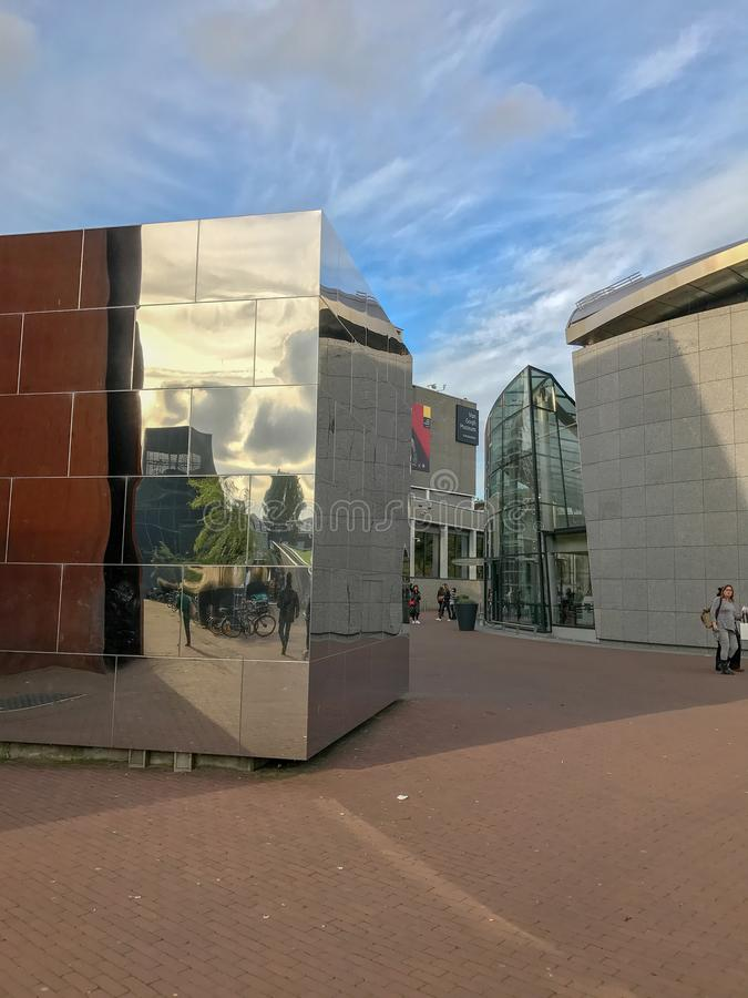 Approach to Van Gogh Museum in Amsterdam royalty free stock photo