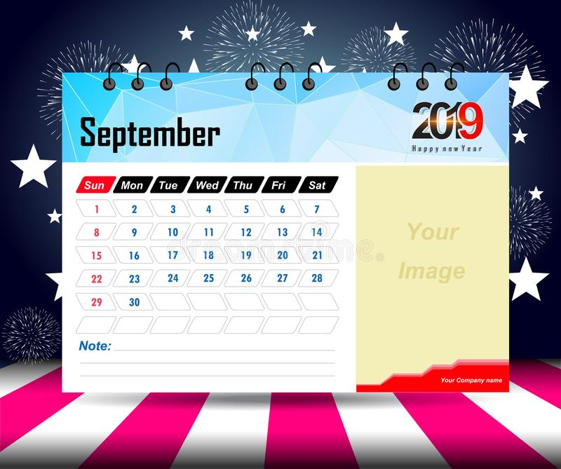September 2019. Wall calendar planner template. Vector design print template with place for photo. Week starts on Sunday. Wall calendar 2019 planner template stock illustration