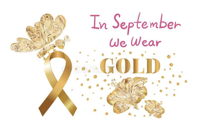 Gold Lotus Flower Awareness Ribbon Childhood Cancer