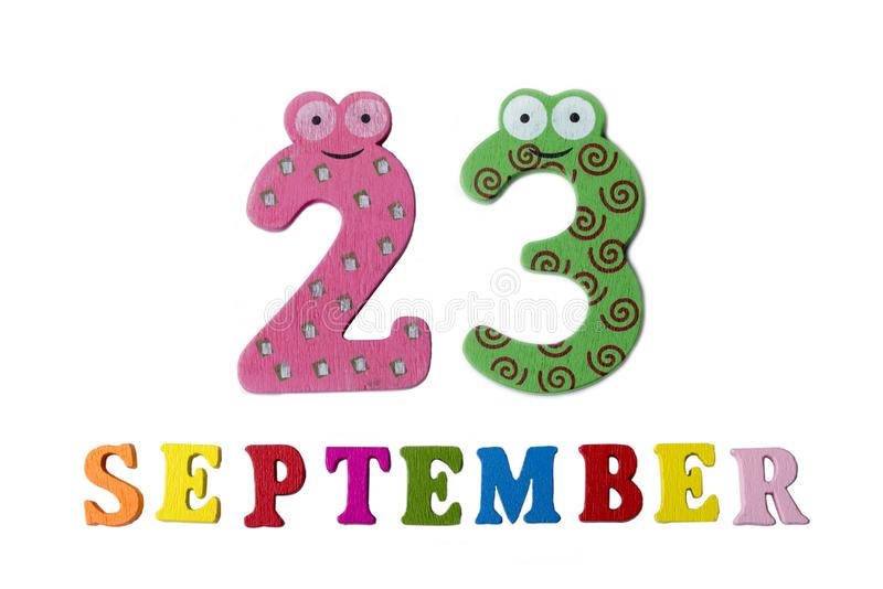 September 23 on white background, letters and numbers. royalty free stock photo