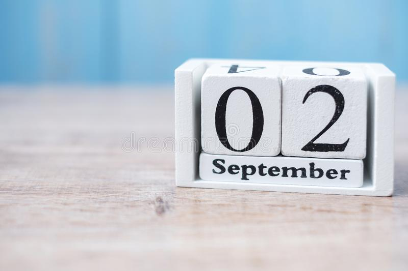 2 September of white Calendar on wood background. copy space for text. Happy Labor day 2019 and Holiday concept stock photography