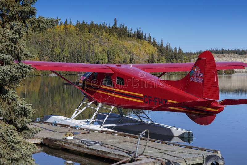 Seaplane on the yukon river near Whitehorse canada. September 17 2018 Whitehorse Canada. Seaplane on the yukon river near Whitehorse canada royalty free stock photo