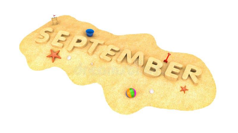 September - woord van zand royalty-vrije illustratie