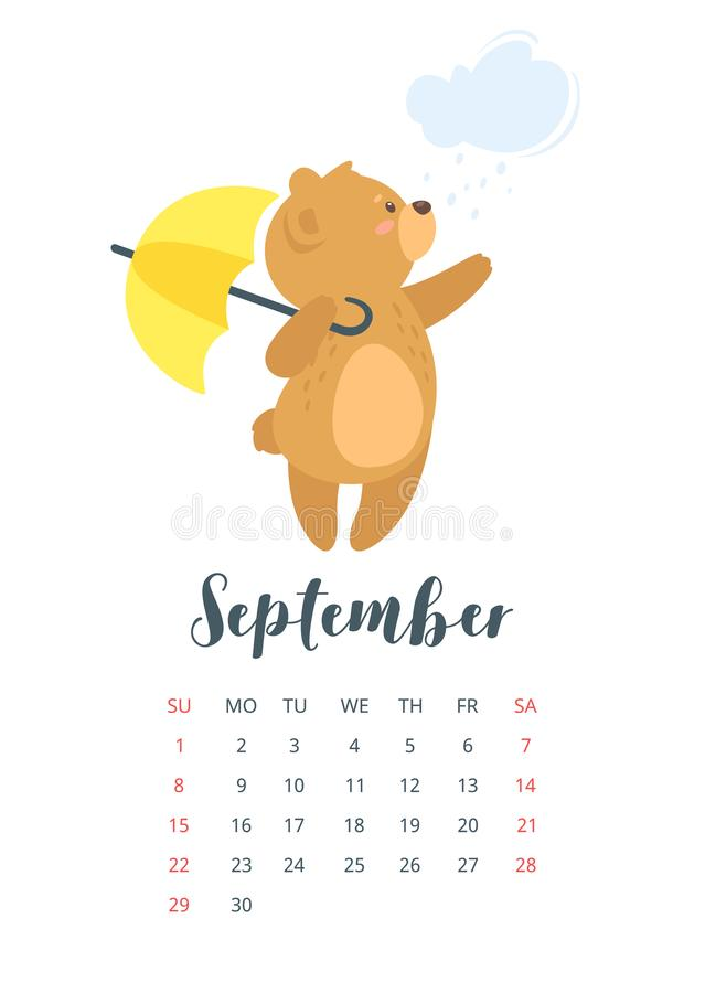 2019 cute teddy bear calendar stock illustration