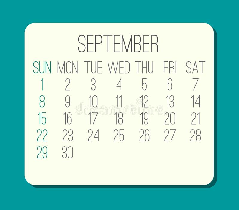 September year 2019 monthly calendar royalty free stock photos