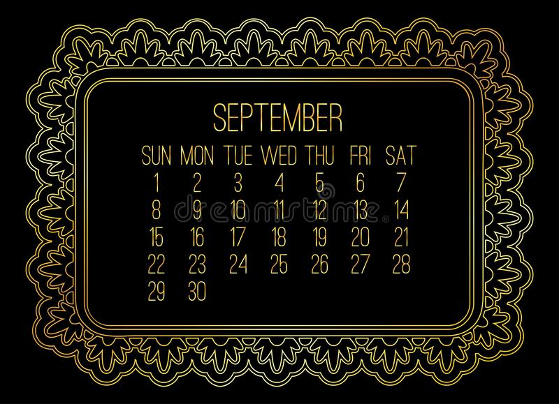 September year 2019 monthly golden calendar royalty free stock photo