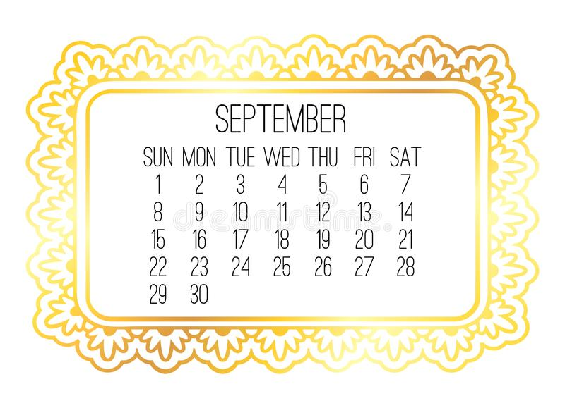September year 2019 monthly golden calendar royalty free stock images