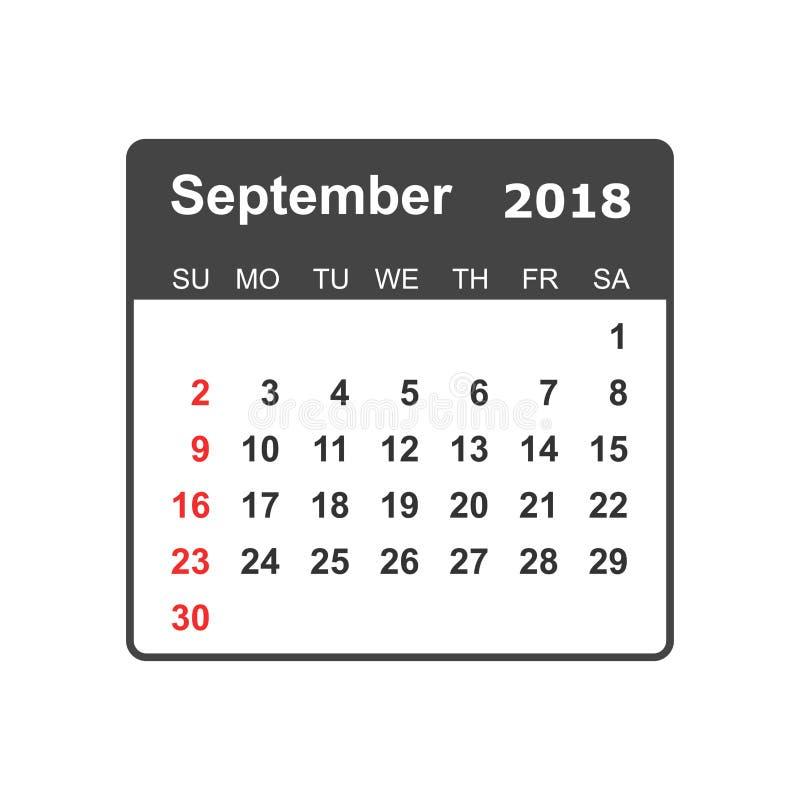 Septembre 2018 calendrier Calibre de conception de planificateur de calendrier semaine illustration stock