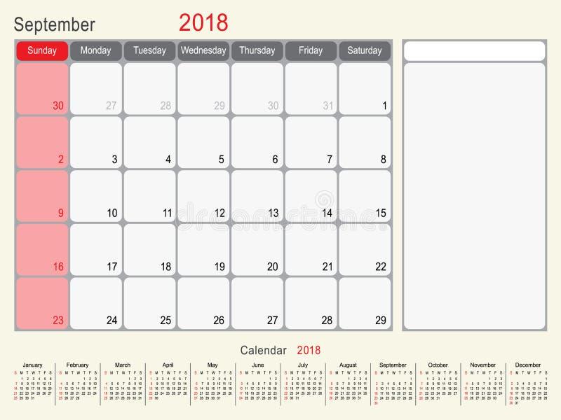 Septembre 2018 conception de planificateur de calendrier illustration stock