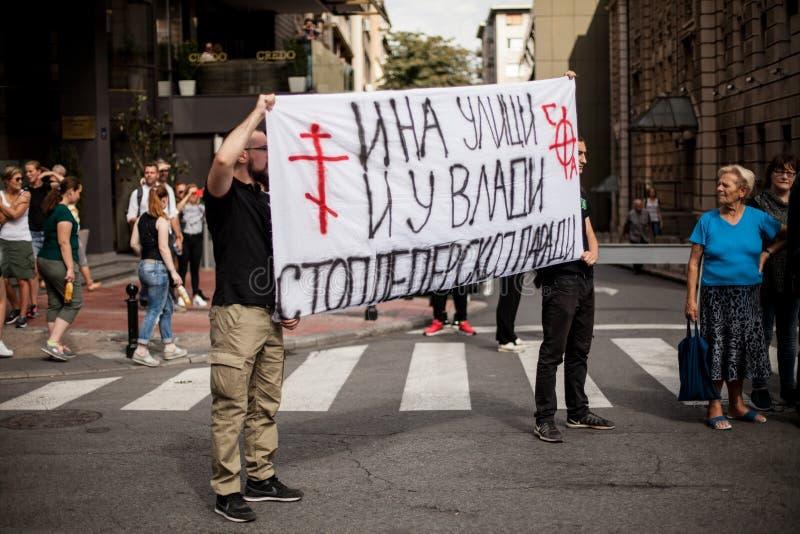 17 septembre 2017 - Pride Parade gai à Belgrade Serbie Opposition pour Pride Parade gai images stock