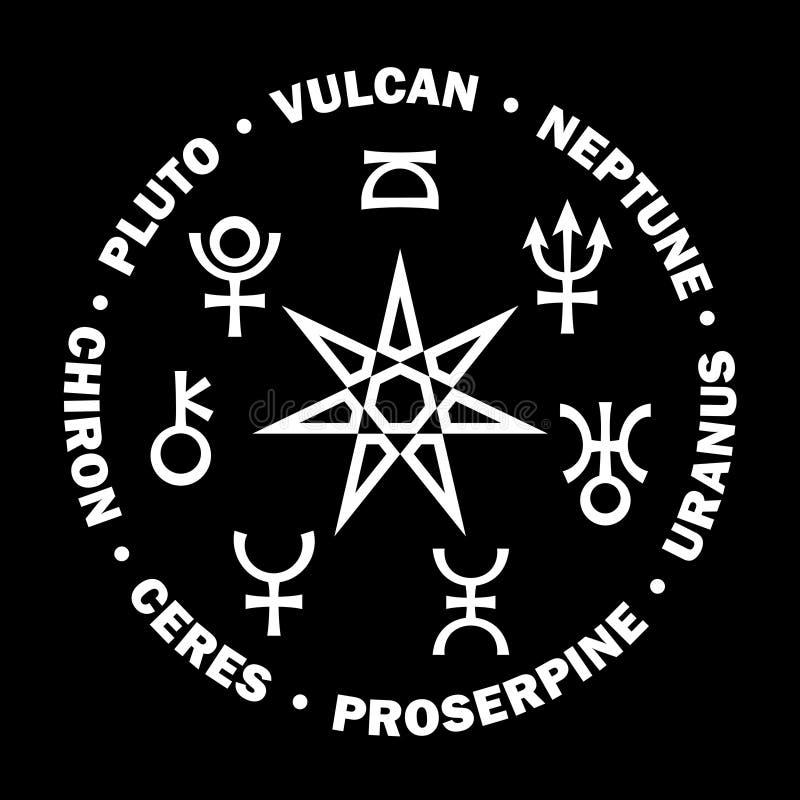 Septener Nowy wiek Siedem wysokich planet astrologia (v 2) royalty ilustracja