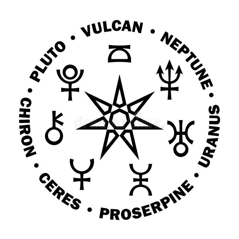 Septener Nowy wiek XXI Siedem wysokich planet astrologia ilustracji