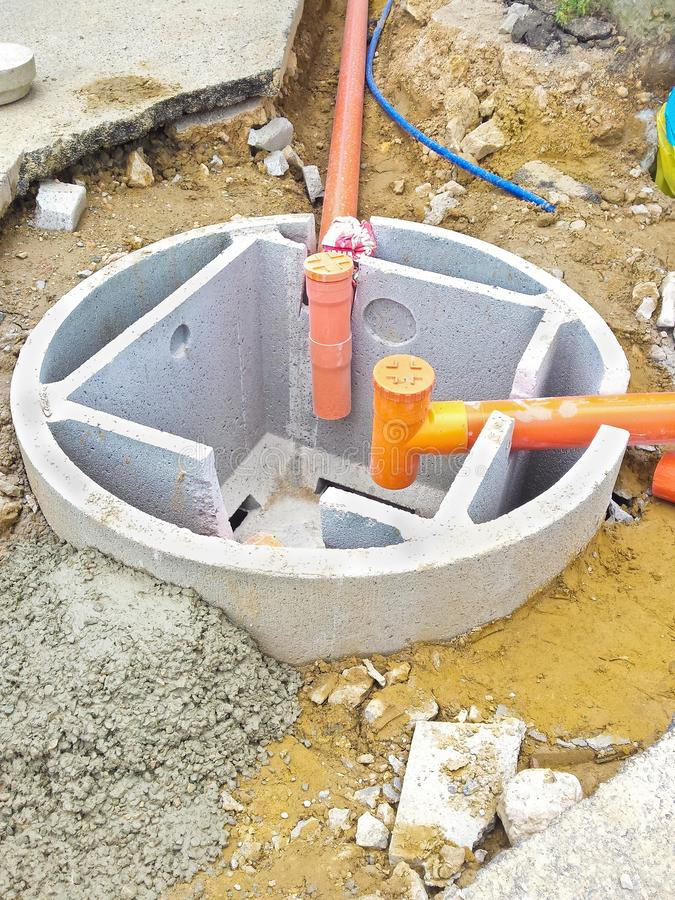 Septic concrete tank during assembly in a italian construction site Septic tank called Imhoff stock photos