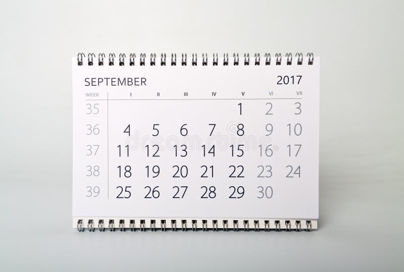 septiembre Calendario del año dos mil diecisiete fotografía de archivo