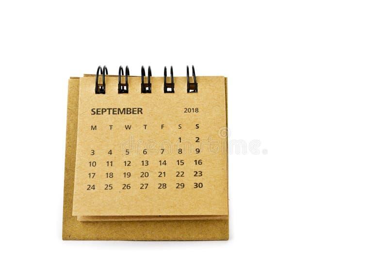 septiembre Hoja del calendario en blanco foto de archivo