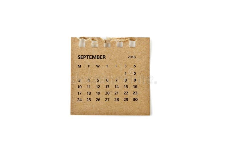 septiembre Hoja del calendario en blanco imagenes de archivo
