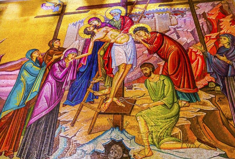 Sepulcher Иерусалим Израиль церков мозаики креста Христоса святой стоковые изображения rf