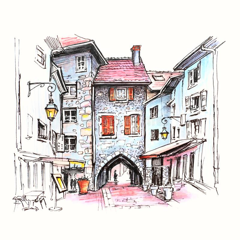 Sepulchre Gate in Old Town of Annecy, France. Color hand drawing, city view with Gorgeous medieval arch gate Sepulchre Gate on the street Rue Sainte-Claire in royalty free illustration