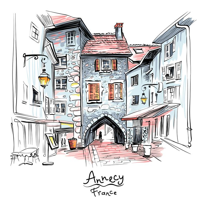 Sepulchre Gate in Old Town of Annecy, France. Vector hand drawing, city view with Gorgeous medieval arch gate Sepulchre Gate on the street Rue Sainte-Claire in stock illustration