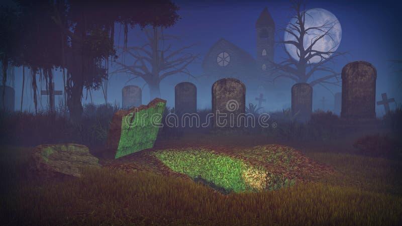 Sepulcro cavado en el cementerio asustadizo de la noche foto de archivo