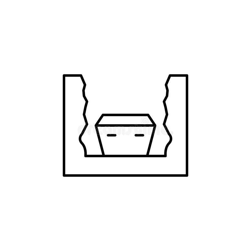 sepulcro, debajo de la tierra, icono del esquema de la muerte sistema detallado de iconos de los ejemplos de la muerte Puede ser  ilustración del vector