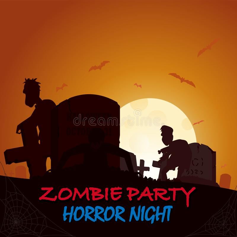 Sepulcro, silueta de la caja del vuelo del zombi de la tumba Cartel coloreado en un estilo oscuro para el partido de Halloween libre illustration