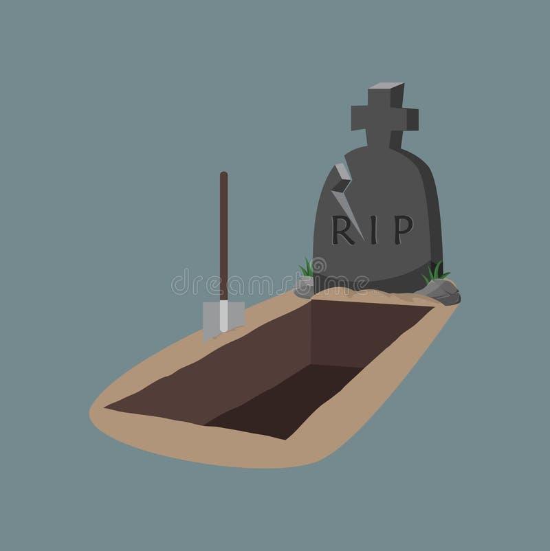 Sepulcro y lápida mortuoria abiertos con la azada ilustración del vector