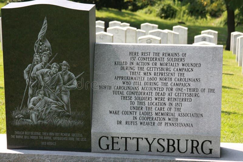 Sepulcros del confederado del cementerio de la madera de roble de Gettysburg imagen de archivo