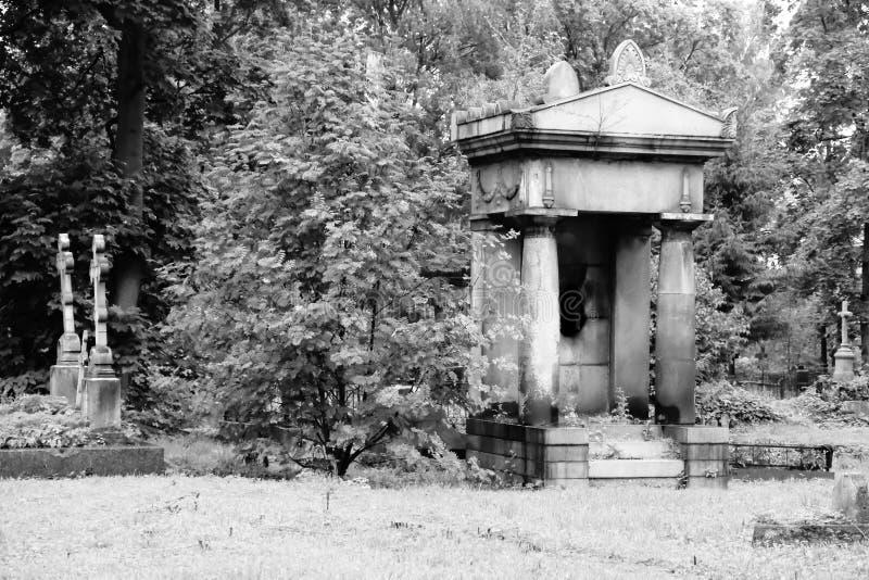 Sepulcros y cámara acorazada viejos en el cementerio abandonado Rebecca 36 fotografía de archivo libre de regalías