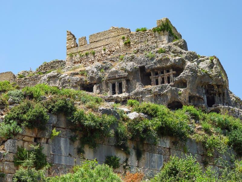 Sepultura do herói mítico Bellerophon do grego clássico em Tlos Província de Mugla fotografia de stock royalty free